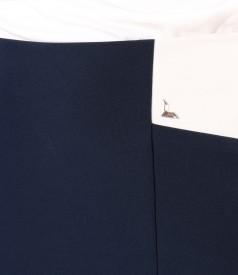Fusta din stofa elastica in doua culori