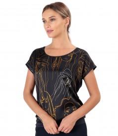 Bluza cu fata din saten imprimat