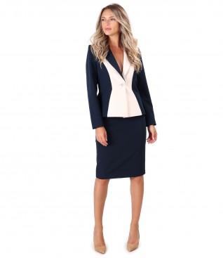 Costum dama office cu sacou si fusta din stofa in doua culori