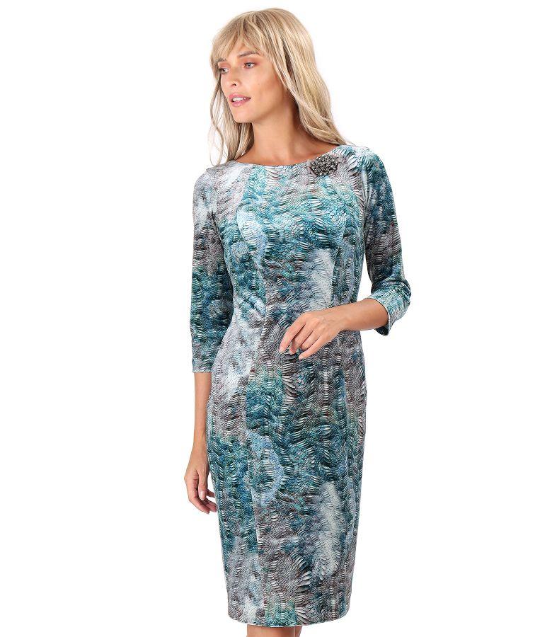 Rochie midi din catifea elastica imprimata