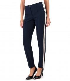 Pantaloni pana cu insertie crem pe laterale