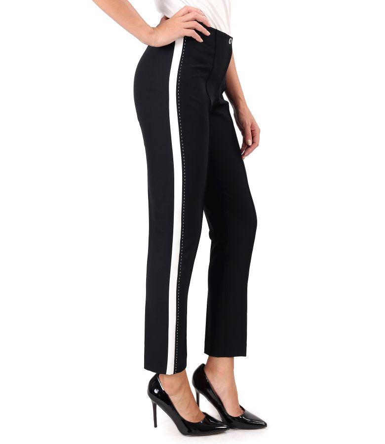 Pantaloni pana cu insertie alba pe laterale