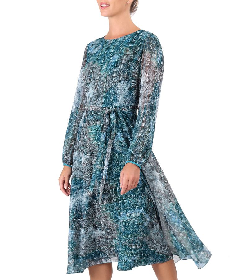 Rochie eleganta din voal cu animal print