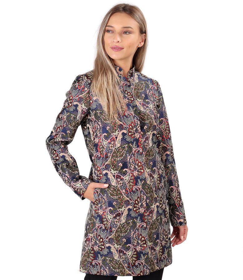 Jacheta din brocart cu fir metalic imprimat paisley