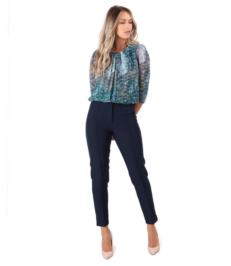 Bluza din voal imprimat cu pantaloni pana