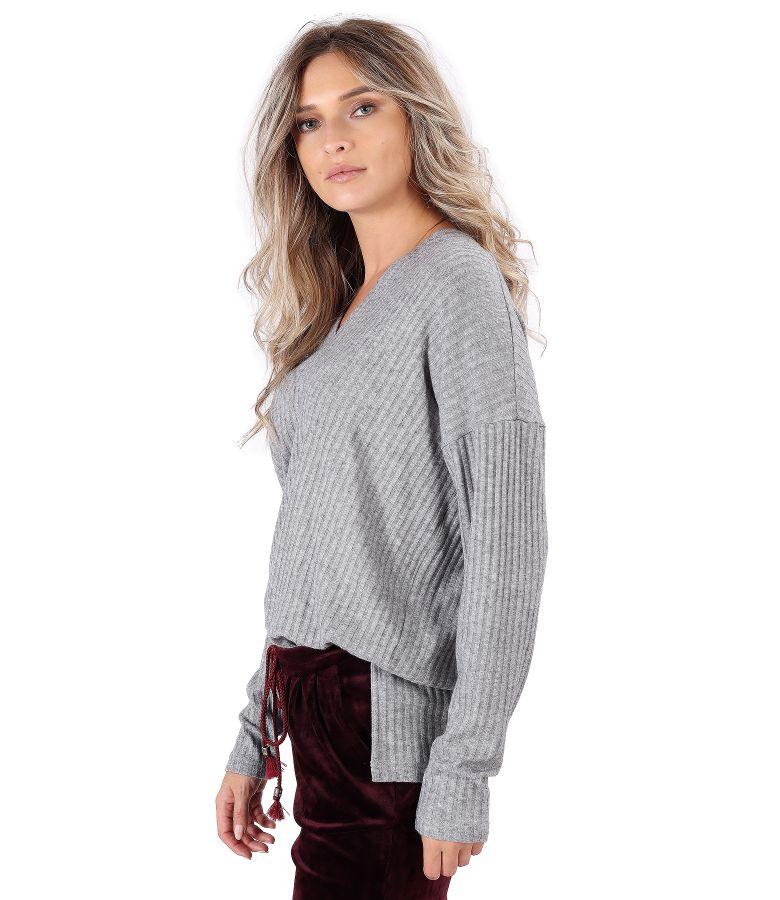 Bluza lejera din jerse elastic cu slituri laterale