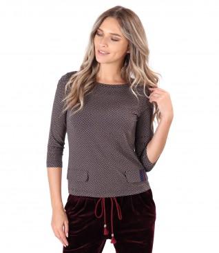Bluza din jerse elastic cu clape decorative