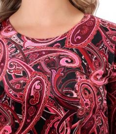 Rochie eleganta din catifea imprimata cu motive paisley
