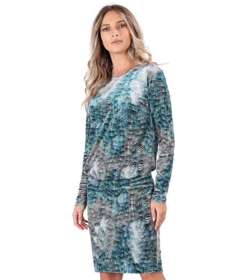Rochie eleganta din catifea imprimata cu lire