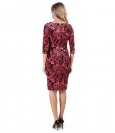 Rochie din catifea elastica imprimata cu motive paisley