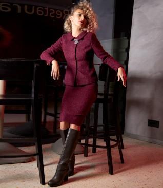 Costum dama office cu fusta si sacou din bucle cu lana si alpaca
