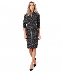 Rochie midi din brocart elastic cu fermoar cu dubla deschidere