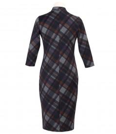 Rochie din jerse elastic gros cu fermoar cu dubla deschidere