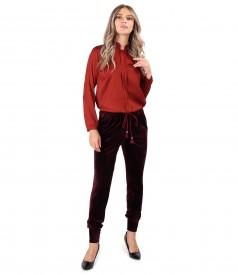 Bluza din saten de viscoza cu pantaloni din catifea