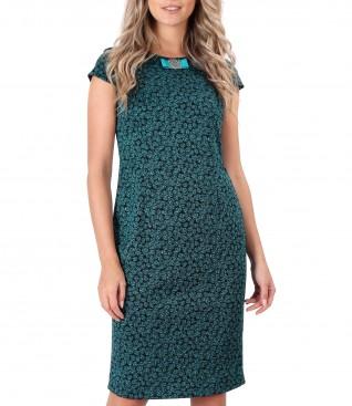 Rochie din jerse elastic imprimat cu frunze
