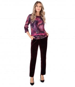 Bluza din jerse elastic gros cu pantaloni din catifea