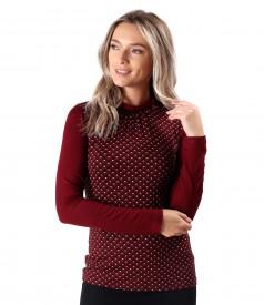 Bluza din jerse elastic cu guler rotund