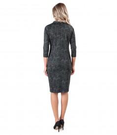 Rochie din jerse elastic gros imprimat cu motive paisley