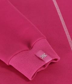 Bluza tip hanorac din bumbac gros cu cusatura decorativa