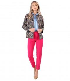 Tinuta eleganta cu jacheta scurta din brocard si pantaloni pana