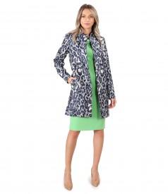 Tinuta eleganta cu jacheta din brocard cu fir metalic si rochie