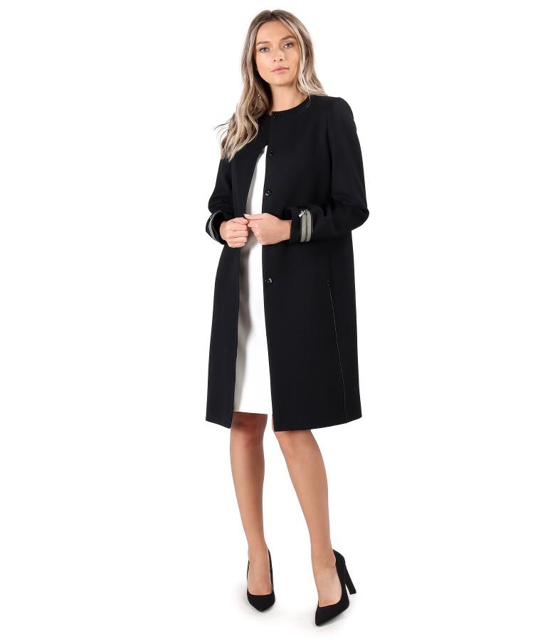 Palton elegant cu lana virgina si rochie din stofa in doua culori