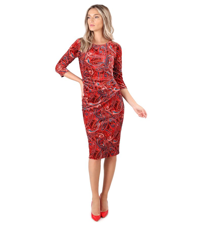 Rochie din catifea elastica imprimata paisley cu falduri pe fata