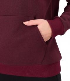 Bluza tip hanorac din bumbac gros cu buzunar pe fata