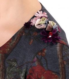 Rochie din jerse elastic gros cu pasmanterie cu flori pe umar