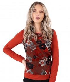 Bluza cu fata din jerse brocat cu motive florale din catifea