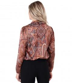 Bluza eleganta din saten imprimat cu motive paisley