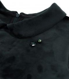 Rochie din catifea cu guler rotund si cordon detasabil