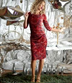 Rochie din catifea elastica imprimata cu falduri in talie