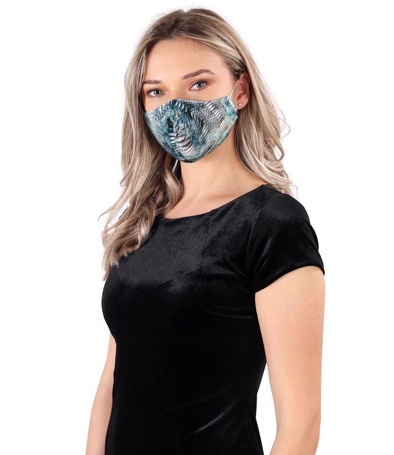 Masca refolosibila din catifea elastica imprimata