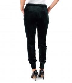 Pantaloni din catifea elastica cu mansete la terminatie