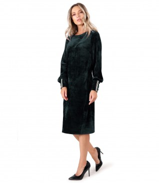 Rochie din catifea cu garnitura din elastic la mansete