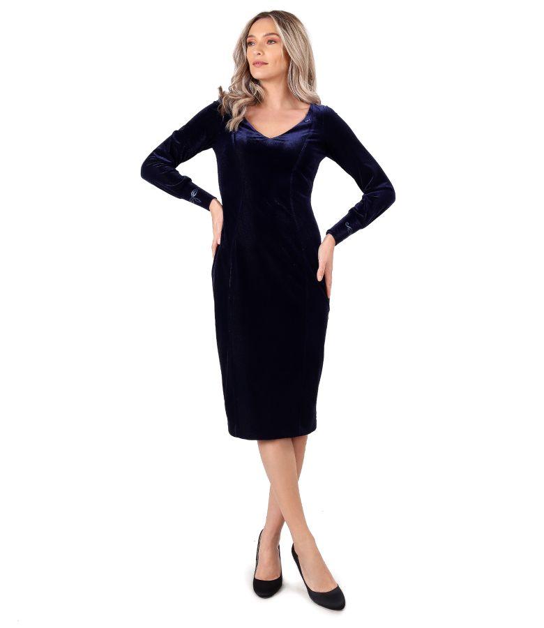 Rochie eleganta din catifea elastica uni