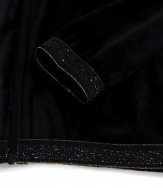 Hanorac din catifea elastica cu terminatie elastica cu cristale