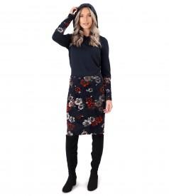 Rochie din jerse elastic flausat si catifea brocata cu motive florale