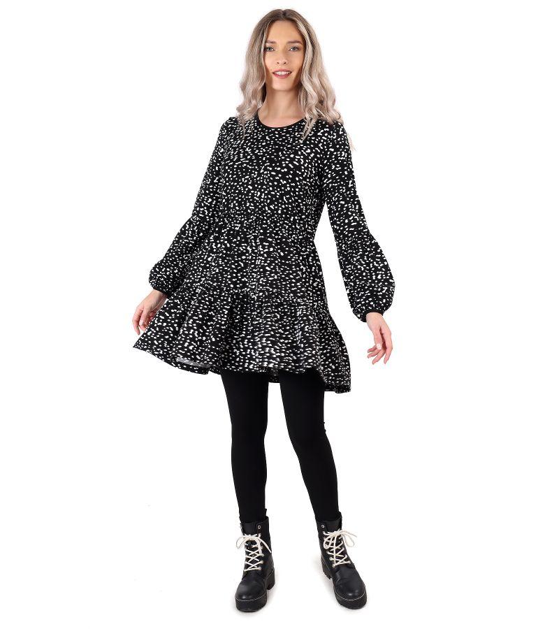 Rochie cu volane din jerse elastic imprimat