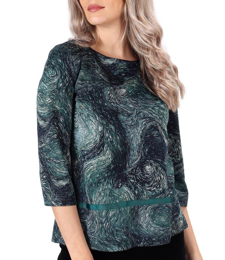Bluza din jerse elastic gros imprimat cu motive geometrice