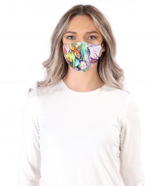 Masca refolosibila din jerse elastic cu motive florale
