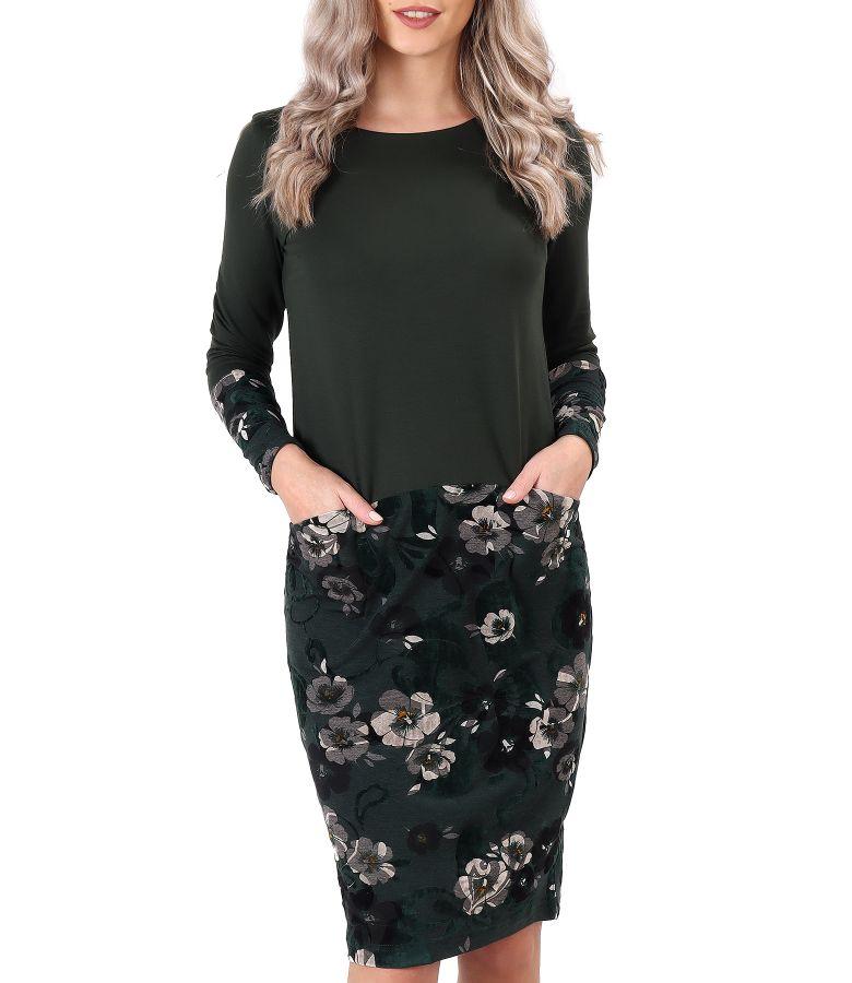 Rochie midi din jerse elastic flausat si catifea brocata cu motive florale