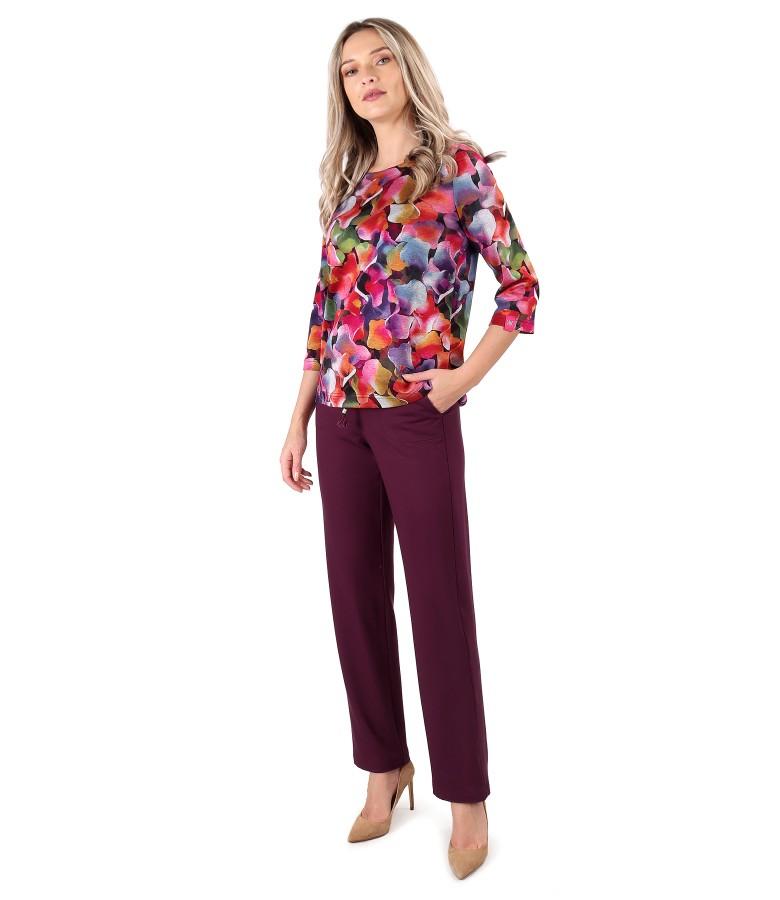Bluza din jerse elastic gros cu pantaloni lejeri din jerse flausat
