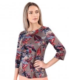 Bluza din jerse elastic gros imprimat cu motive florale