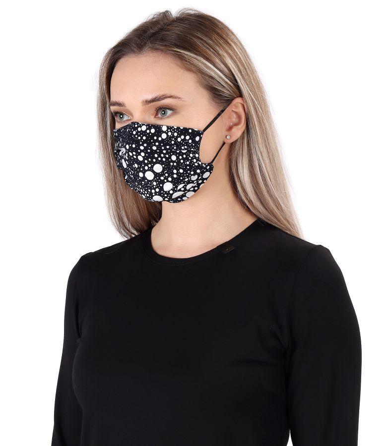 Masca refolosibila din jerse elastic imprimat cu picouri