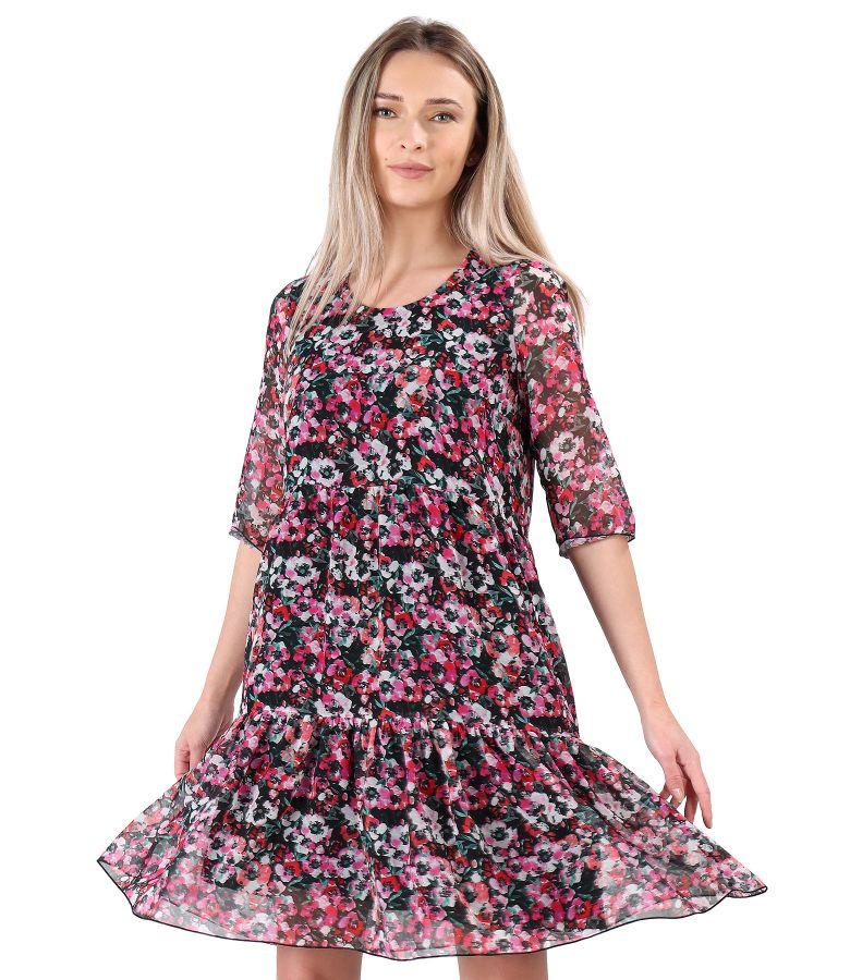 Rochie cu volane din voal imprimat cu motive florale