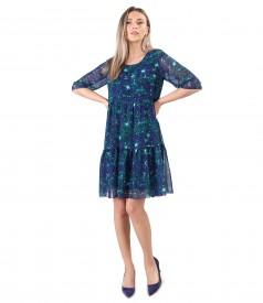 Rochie eleganta cu volane din voal imprimat