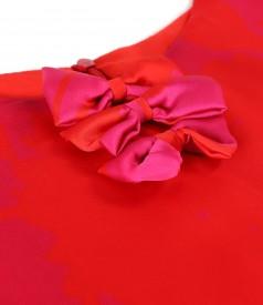 Rochie midi din voal tip organza imprimat cu motive florale