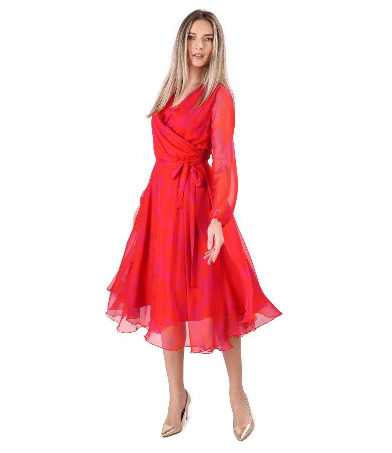 Rochie eleganta din voal tip organza imprimat cu motive florale